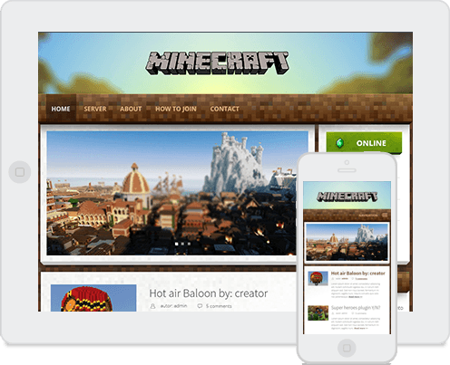 Responsive theme in minecraft wordpress theme