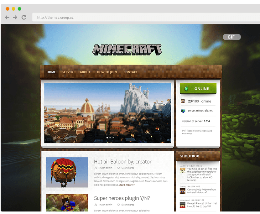 Minecraft theme for wordpress