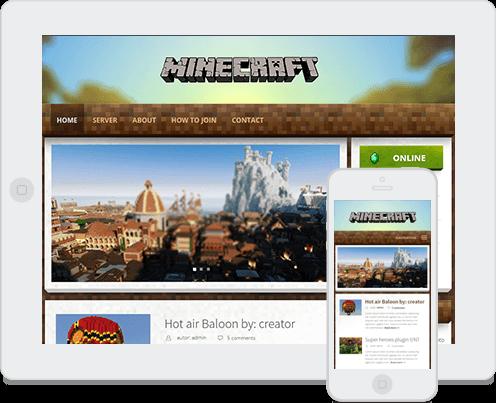 Responsive theme in minecraft wordpress theme